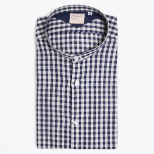 | Collo Granddad Collar Big Gingham Shirt - Navy