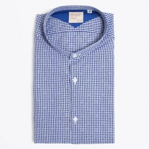 | Coreano Granddad Collar Gingham Shirt - Navy