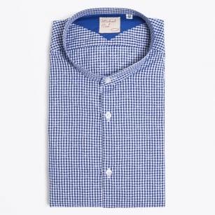   Coreano Granddad Collar Gingham Shirt - Navy