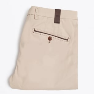 | Lynx Stretch Cotton Leather Trim Trousers - Sand
