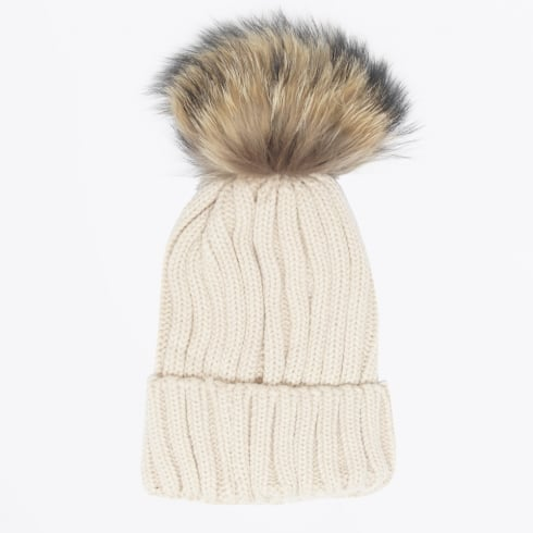 Mr & Mrs Stitch - Fur Pom Pom Hat - Beige