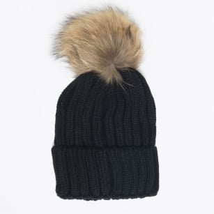 - Fur Pom Pom Hat - Black