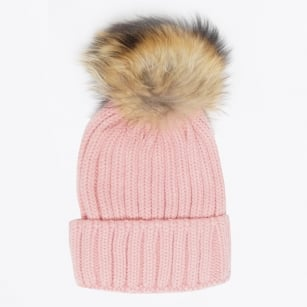 - Fur Pom Pom Hat - Blush