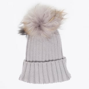 - Fur Pom Pom Hat - Grey
