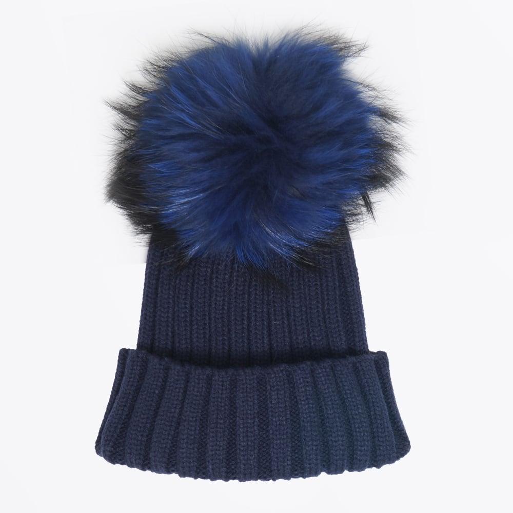 Fur Pom Pom Hat - Navy  dbce32c7afb