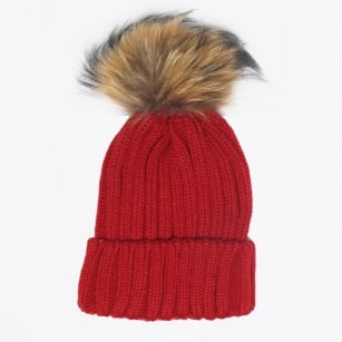 | Fur Pom Pom Hat - Red