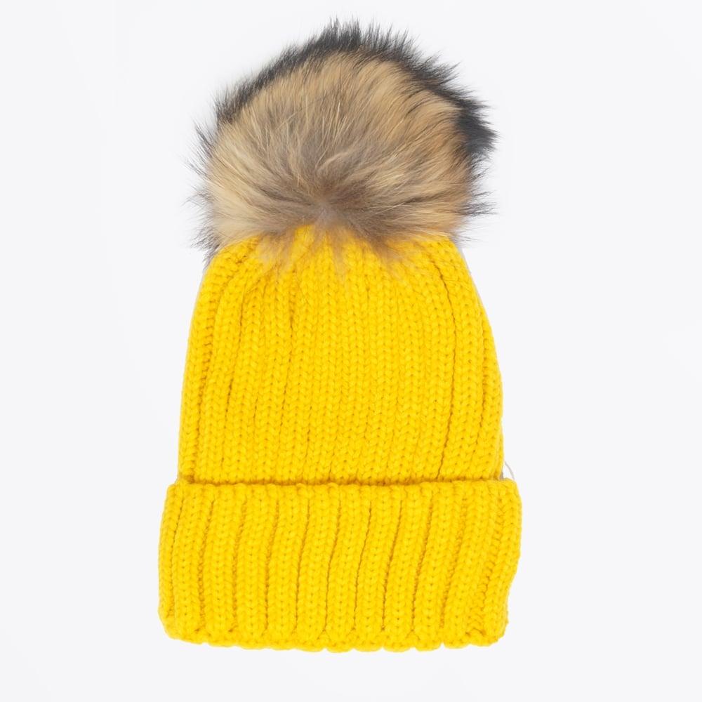 Fur Pom Pom Hat - Yellow  a33e0424665