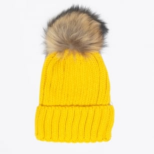 | Fur Pom Pom Hat - Yellow