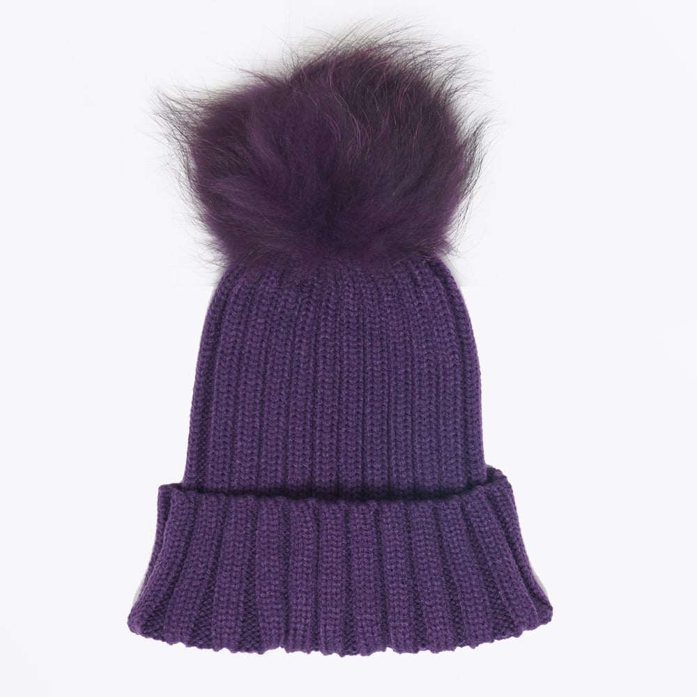 Fur Pom Pom Hats - Purple  78f83eaa0b3