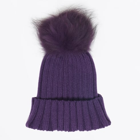 Mr & Mrs Stitch - Fur Pom Pom Hats - Purple