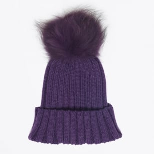 | Fur Pom Pom Hats - Purple