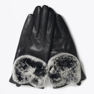 - Rabbit Fur Gloves - Black