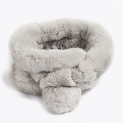 Mr & Mrs Stitch Rabbit Fur Pom Pom Scarf - Grey