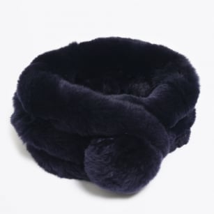 Rabbit Fur Pom Pom Scarf - Navy