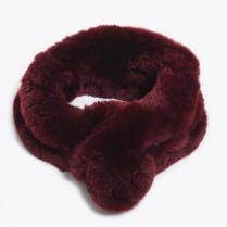 Rabbit Fur Pom Pom Scarf - Wine