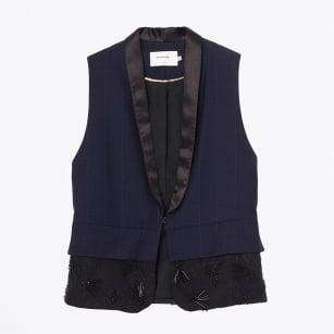 | Junior Embellished Leather Waistcoat - Indigo