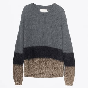 - Ole Mohair Crew Neck Knit Jumper - Charcoal