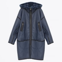 - Oleen Oversized Hooded Coat - Indigo