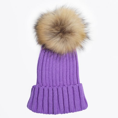 My Sister's Closet - Fur Pom Pom Hat - Purple
