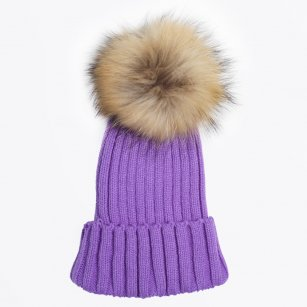 | Fur Pom Pom Hat - Purple