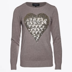 | Lucia Heart Sequinned Sweater - Beige