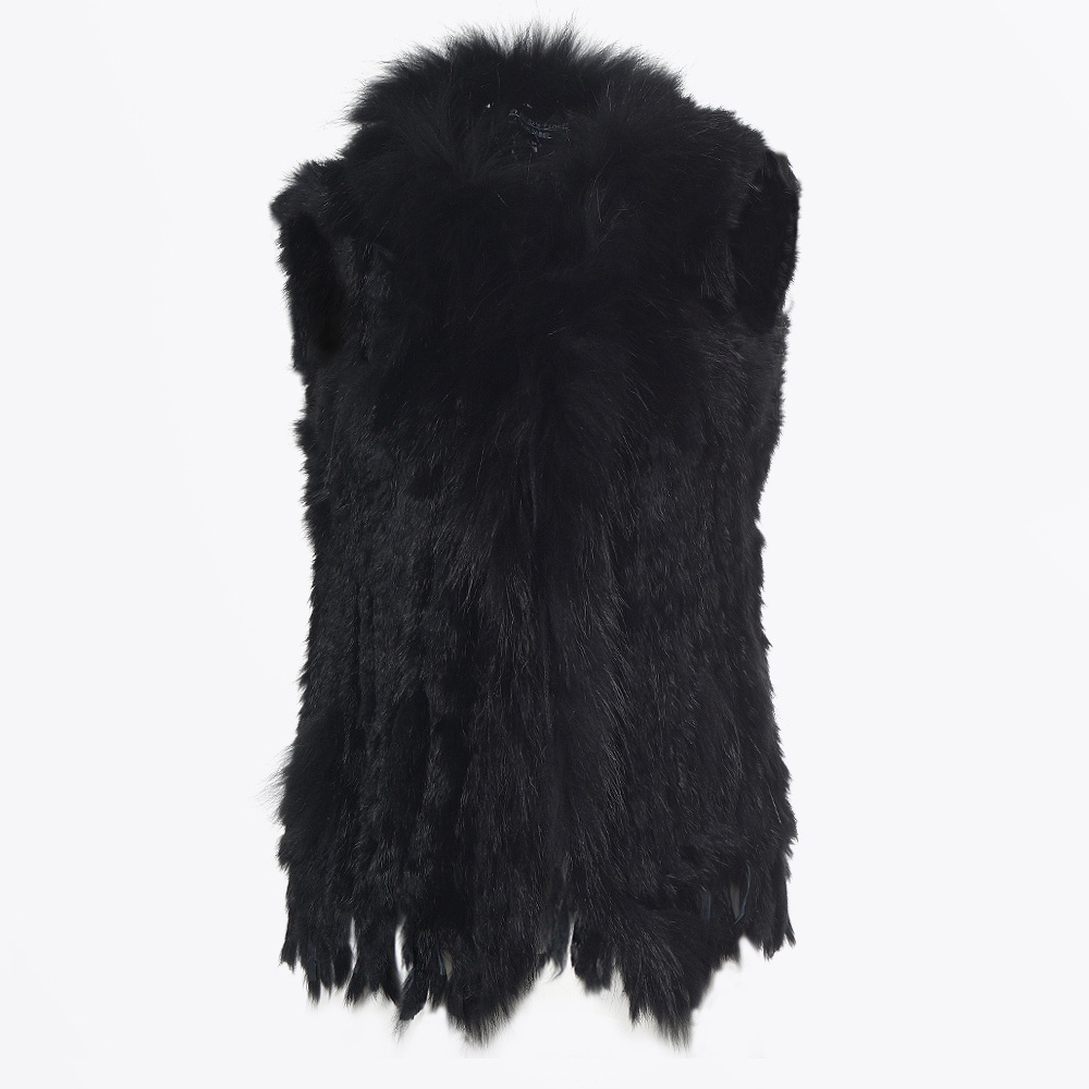 3a6a126152b5 Rabbit Fur Gilet - Black