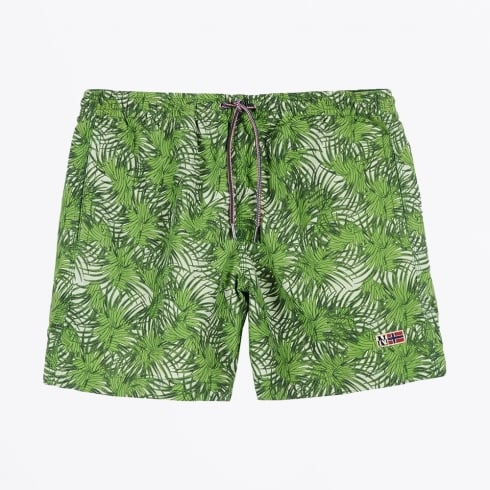 Napapijri - Vail Printed Leaf Print Swim Shorts - Green