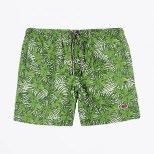 - Vail Printed Leaf Print Swim Shorts - Green