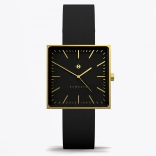 - Cubeline - Black Face Leather Strap Watch - Black