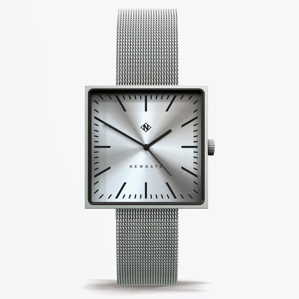 Newgate Watches Cubeline Square Face Watch Steel Mr Mrs Stitch
