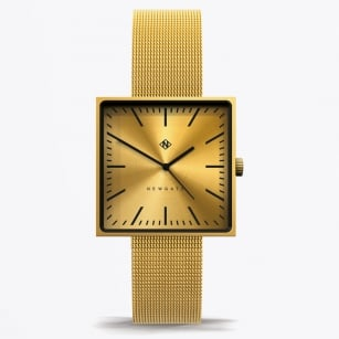 - Cubeline - Square Face Watch With Mesh Strap - Brass