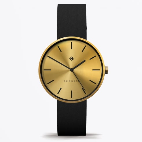 Newgate Watches - Drumline - Brass Face With Black Leather Strap