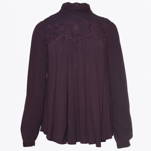 HIGH - Odette - Burgundy High Neck A Line Top With Crochet