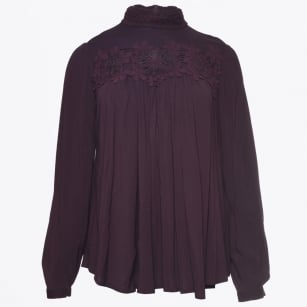 - Odette - Burgundy High Neck A Line Top With Crochet