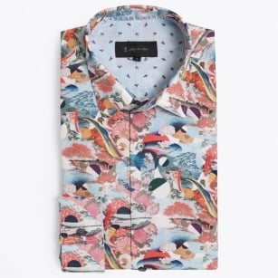 | Postcards Unique Print Shirt - Pink