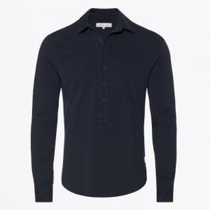 | Adam Long Sleeve Pique Polo - Navy