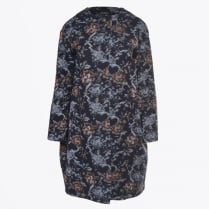 - Blue Brocade Coat - Unica