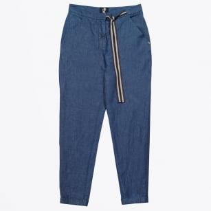 | Cropped Tie Waist Trousers - Denim