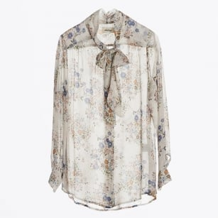 | Floral Print Pussybow Blouse - Vaniglia