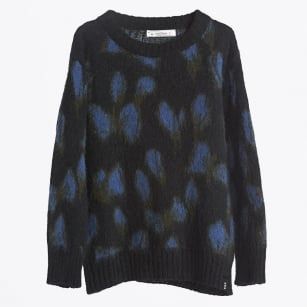 | Jacquard Sweater in Mohair Blend Yarn - Navy