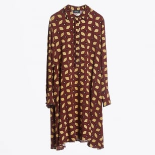 - Leaf Print Swing Dress - Rust