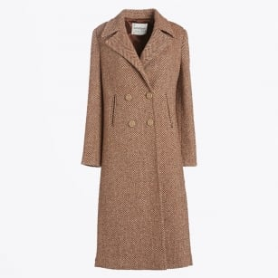 | Long Coat in Herringbone Wool Fabric - Rust