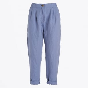 - Loose Cotton Turn Up Trousers - Blue
