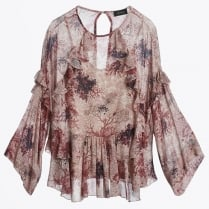 - Printed Frill Top - Unica