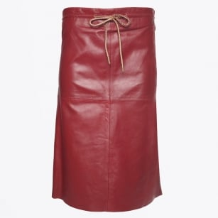 - Red Drawstring Leather Skirt