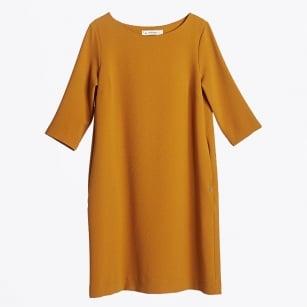 | Round Neck Crepe Dress - Ochre