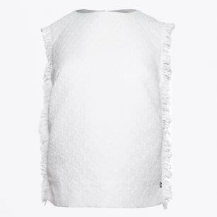 | Sleeveless Frayed Edge - Bianco