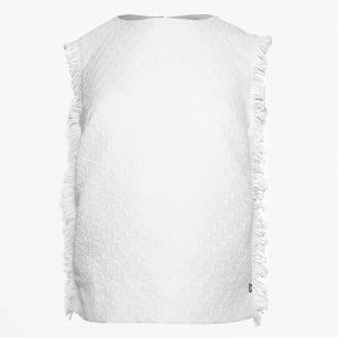 | Sleeveless Frayed Edge - Bianco
