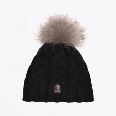 - Cable Knit Hat - Black