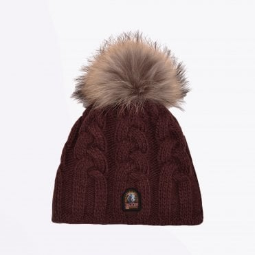 - Cable Knit Hat - Burgundy